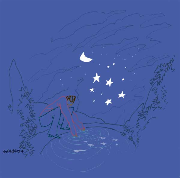 illustration of a man trying to cath stars in the water