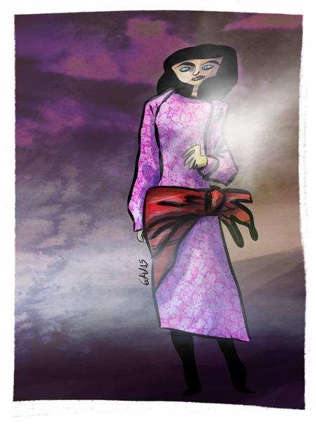 Girl in the fog 6dilly4dally illustration