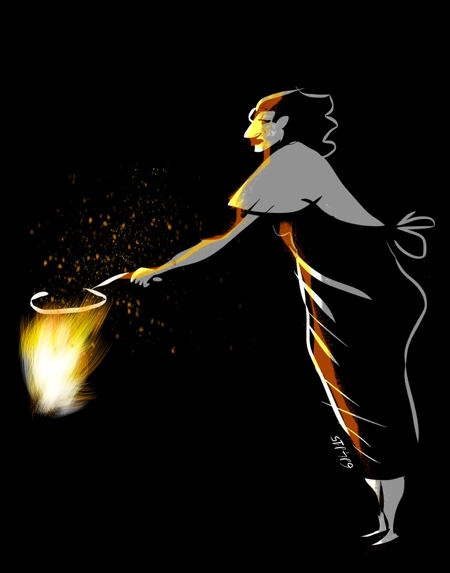 Witch cooking omelette